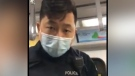 Const. Peter Kwok, a transit police officer, was filmed during an encounter on Canada Line when a woman refused to wear a face mask.