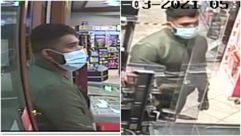 One of two suspects police are searching for connected to a string of convenience store robberies in Calgary. (Calgary police handout)