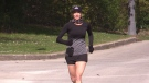London, Ont. resident Kristin Lewis while running on May 12, 2021. (Brent Lale/CTV London)