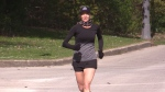 London, Ont. resident Kristen Lewis while running on May 12, 2021. (Brent Lale/CTV London)