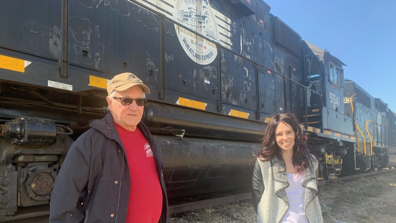 Barry Pellerin and Ashlyn Weninger with The Wheatland Express Excursion Train.