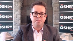 Former Edmonton city councillor Michael Oshry kicked off his mayoral campaign remotely from his home May 12.