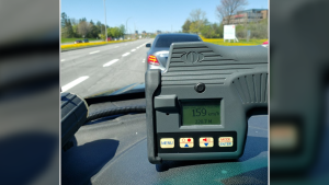 Ottawa Police say a motorist was spotted going 159 km/h on Heron Road. (Photo courtesy: OPSTrafficCM)