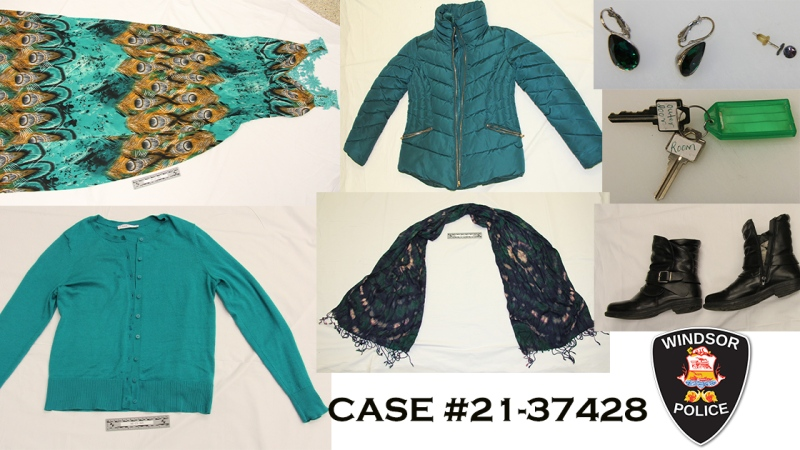 Clothes and accessories the woman was wearing in Windsor, Ont. on Monday May 10, 2021. (courtesy Windsor Police Service)