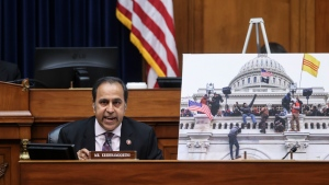 Rep. Raja Krishnamoorthi, D-Ill., speaks during a House Oversight and Reform Committee regarding the on Jan. 6 attack on the U.S. Capitol, on Capitol Hill in Washington, Wednesday, May 12, 2021. (Jonathan Ernst/Pool via AP)