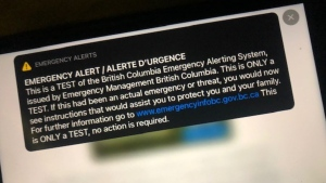 Emergency Management BC says an emergency alert test that caught British Columbians by surprise Wednesday afternoon was an accidental rebroadcast of the alert that was sent out last week.