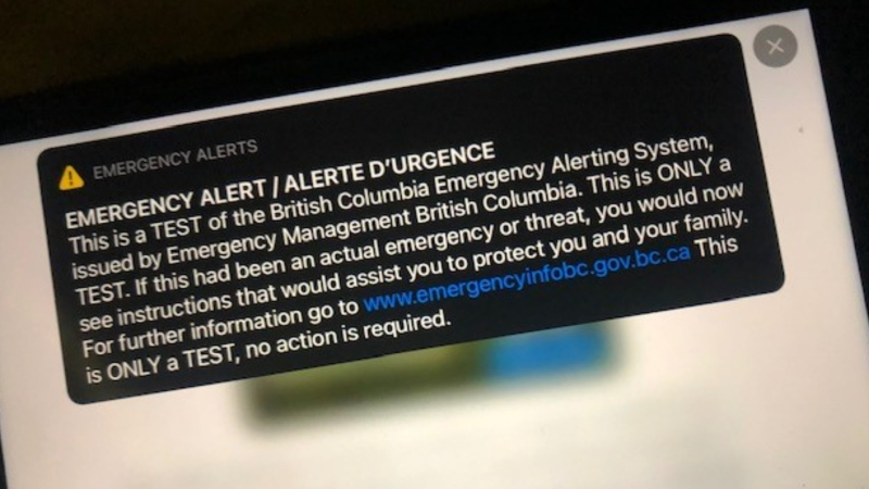 B.C.'s emergency alert test is seen in this undated image. (File photo)