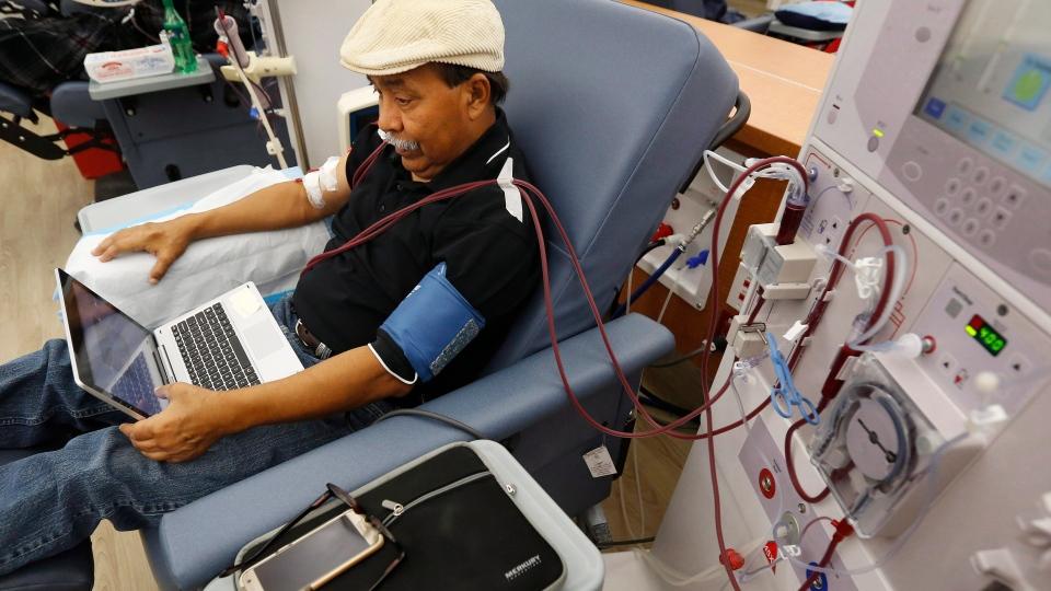 Man undergoing dialysis