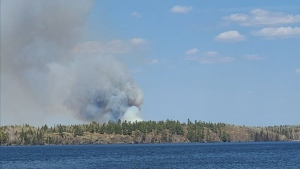 The Manitoba government said a fire is burning in the area of Toniata, and are asking people to avoid the area. (image source: Twitter: @MBGov)