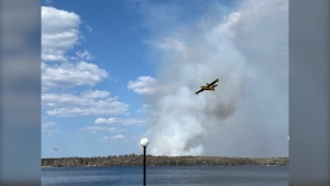 Water bombers have been called in to help fight a wildfire near Toniata, Manitoba. (submitted image: Whiteshell Cottagers Association)