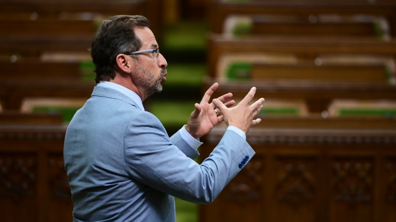 Bloc Quebecois Leader Yves-Francois Blanchet rises during question period in the House of Commons on Parliament Hill in Ottawa on Wednesday, May 12, 2021. THE CANADIAN PRESS/Sean Kilpatrick