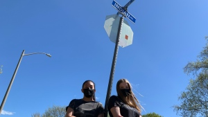 Harmanpreet Singh (left) and Molly Buitenhuis, Grade 10 students at Grand River Collegiate Institute in Kitchener, are among the students pushing for a name change to Indian Road. The City of Kitchener has flagged the issue for review. Wednesday, May 12, 2021. (Ricardo Veneza/CTV News)