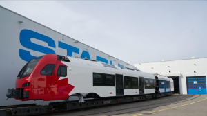 Mayor Jim Watson shared a photo of Ottawa's new Trillium Line rail cars being assembled in Switzerland. (Photo courtesy: Twitter/JimWatsonOttawa)