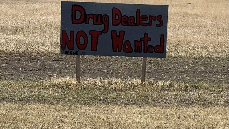 A sign on the Keeseekoose First Nation tells drug dealers they're not wanted in the community. (Hafsa Arif / CTV Newss Yorkton)