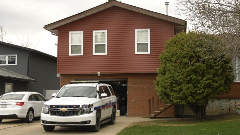 Prince Albert police are pictured at a house on Dent Crescent on May 12, 2021. (Jayda Taylor/CTV Prince Albert)