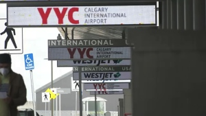 International travellers returning to Calgary airport are not being fined if they don't go into a hotel quarantine