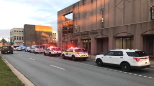Several officers responded to the area of Alderney Landing around 7:30 p.m. and found a man with life-threatening injuries consistent with a gunshot wound. (CTV ATLANTIC / JIM KVAMMEN)