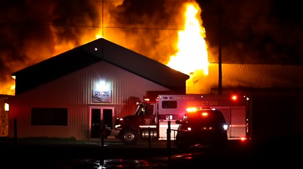 A late-night fire has destroyed a warehouse in Moncton. (Photo Courtesy: Wade Perry)