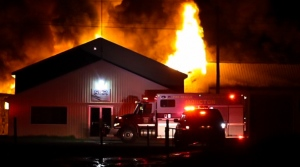 A late-night fire has destroyed a warehouse in Lackville, N.B. (Photo Courtesy: Wade Perry)