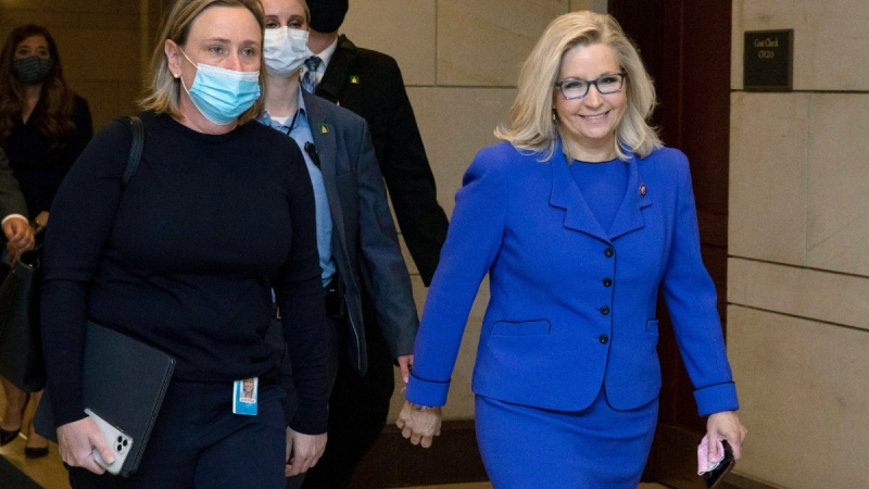 Rep. Liz Cheney, R-Wyo., right, after being ousted from her leadership role in the House Republican Conference at the U.S. Capitol in Washington, on May 12, 2021. (Amanda Andrade-Rhoades / AP)