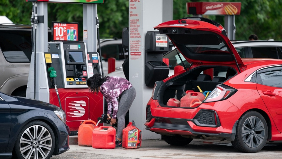 Filling gas cans in Benson, North Carolina