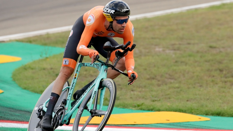 Netherlands' Tom Dumoulin competes during the men's Individual Time Trial event, at the road cycling World Championships, in Imola, Italy, Friday, Sept. 25, 2020. (AP Photo/Andrew Medichini)