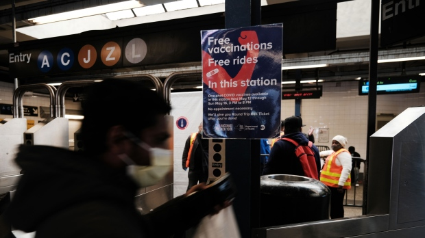A Brooklyn subway station is one of several pop-up vacination sites in New York offering free seven-day MetroCard passes to those who get vaccinated. (Spencer Platt/Getty Images)