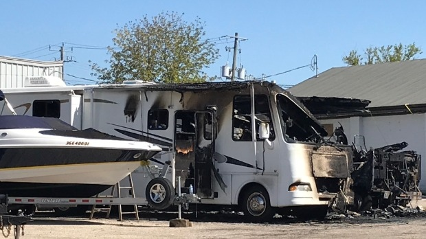 A vehicle damaged in a fire in Preston (Tegan Versolatto / CTV News Kitchener)