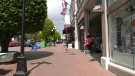 A typically busy Government Street in downtown Victoria is seen empty of tourists on May 13, 2021 (CTV News)