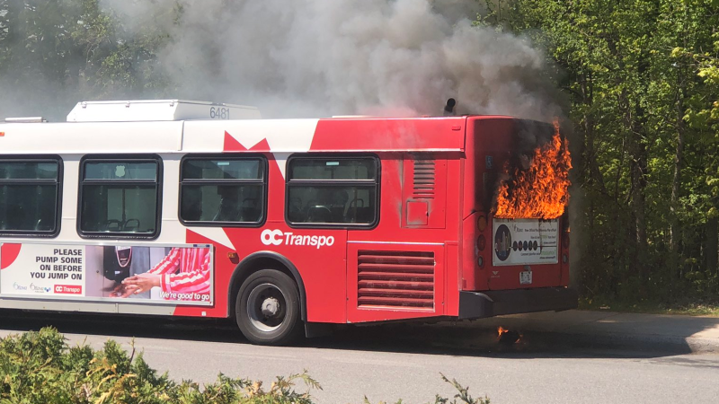 A fire onboard an OC Transpo bus on Carsons Road on Thursday, May 13. (Photo courtesy: Twitter/KellyNeall)