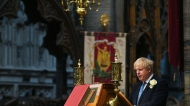 Britain's Prime Minister Boris Johnson speaks during Westminster Abbey's annual special service to commemorate the life of Florence Nightingale and to mark nurses' contribution to the community, on International Nurses Day, in London, Wednesday May 12, 2021. (Victoria Jones/PA via AP)