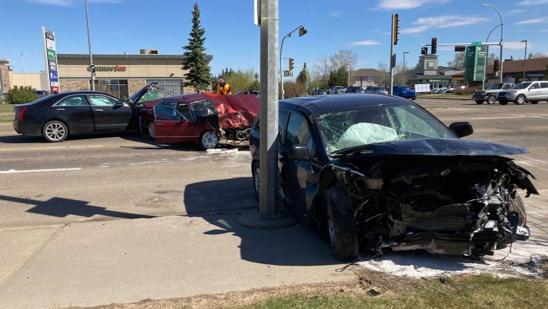 A three-car collision in north Edmonton sent one man to hospital Thursday morning. (Brandon Lynch/CTV News Edmonton)