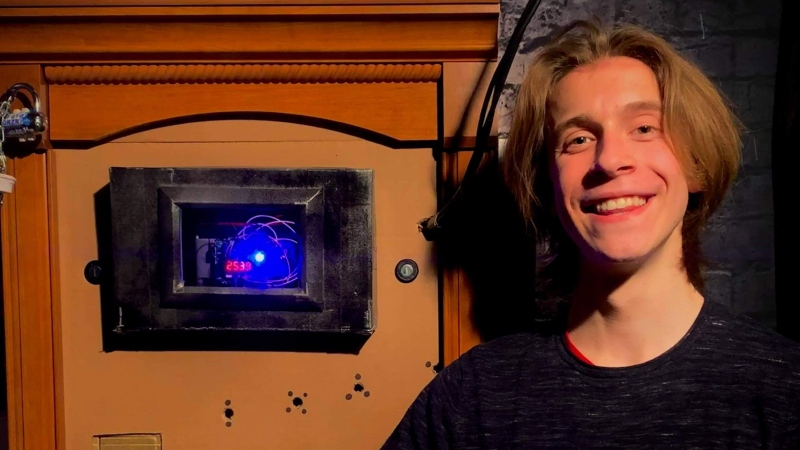 Heidelberg teenager Logan Brideau built an interactive escape room in his family's basement for friends to explore virtually. (Supplied by Logan Brideau)