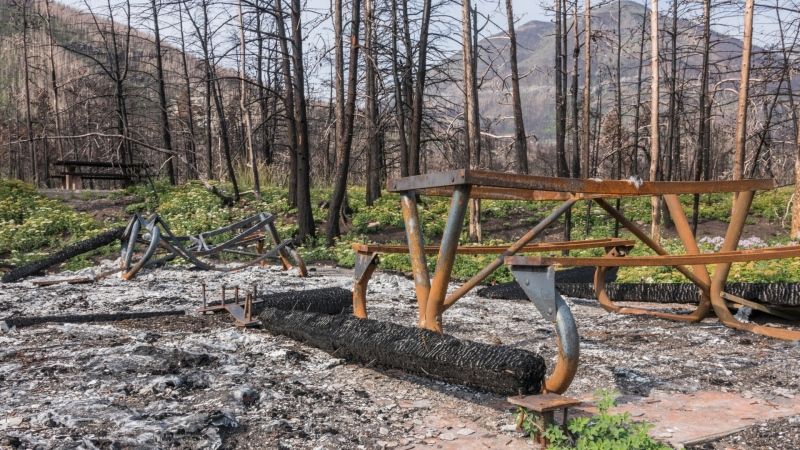 Damage to the Crandell Lake Campround from the 2017 Kenow wildfire. (Parks Canada)