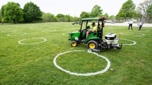 A worker paints environmentally-friendly physical distancing circles at Trinity Bellwoods Park during the COVID-19 pandemic in Toronto on Thursday, May 28, 2020. THE CANADIAN PRESS/Nathan Denette