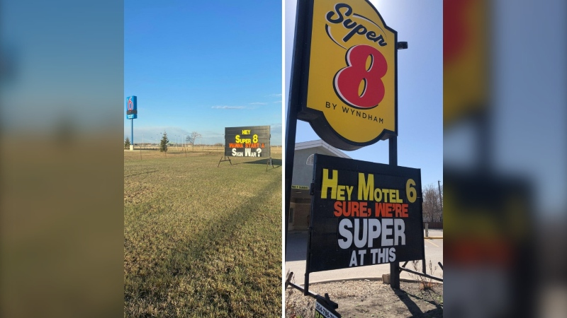 A sign war is starting up between Motel 6 and Super 8 in Winnipeg. (Source: Super 8 Winnipeg West/Facebook)