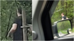 Photos provided by the Burnaby RCMP show a man believed to be a suspect in an indecent act on May 5, 2021.