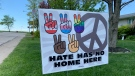 Hate Has No Home Here sign on Iler Avenue, in Essex, Ont. on Wednesday, May 13, 2021. (Chris Campbell/CTV Windsor)