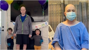 Ross Mangan, 31, is seen at the hospital and at home with his two children.