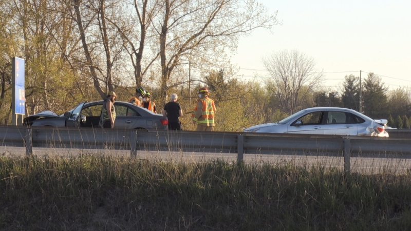 A two-vehicle collision sent one person to hospital with minor injuries on May 13 (David Sullivan/CTV News Barrie)