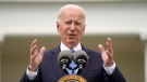 U.S. President Joe Biden speaks on updated guidance on face mask mandates and COVID-19 response, in the Rose Garden of the White House, Thursday, May 13, 2021, in Washington. (AP Photo/Evan Vucci)