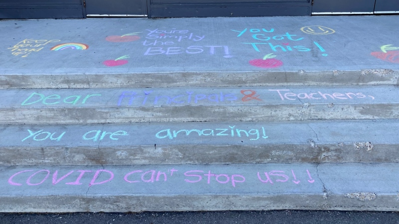 On the first day of remote learning on May 12, 2021, staff at the Chief Peguis Middle School found a a surprise message of support left for them on the school's steps. (Submitted: Mikaela Domish)