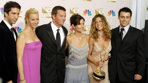 "'""Friends' -- starring (from L-R) David Schwimmer, Lisa Kudrow, Matthew Perry, Courteney Cox, Jennifer Aniston and Matt LeBlanc -- remains wildly popular. (AFP)"