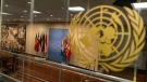 The Security Council scrum area at UN headquarters, on Sept. 23, 2020. (Mary Altaffer / AP)