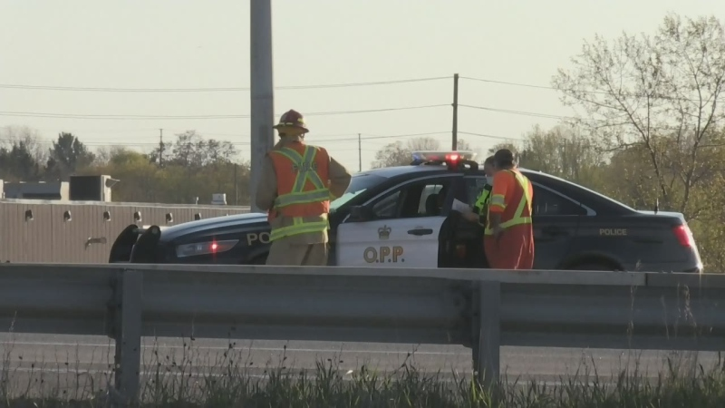 One person was taken to hospital after a two vehicle crash on Highway 400 near Essa Road in Barrie on Thurs., May 13, 2021. (Dave Sullivan/CTV)