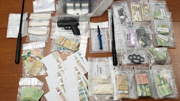 OPP say drugs, weapons, cash found in homes in Gravenhurst, Bracebridge, Mississauga and Toronto on Wed., May 12, 2021. (OPP/SUPPLIED)