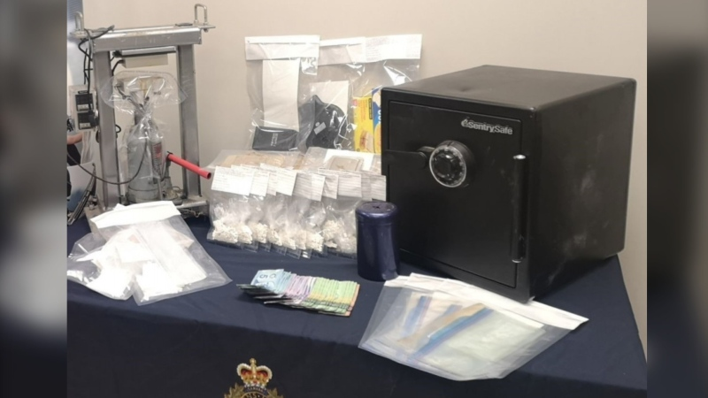 According to police, officers seized significant quantities of what is believed to be methamphetamine pills, as well as quantities of what is believed to be crystal methamphetamine. (Photo courtesy: RCMP)