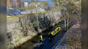 Sudbury water rescue crew in Junction Creek after a call about someone potentially in the water. May 14/21 (Molly Frommer/CTV Northern Ontario)