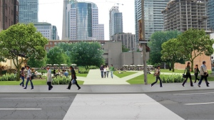 A new park planned for a surface parking lot on Richmond Street is shown. (City of Toronto)