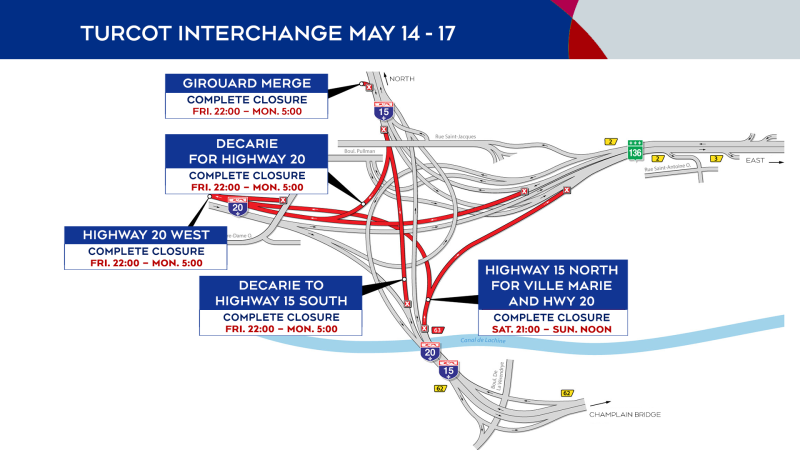 Turcot Interchange closures from May 14 to May 17, 2021.